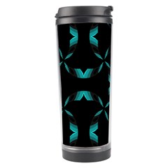 Background Black Blue Polkadot Travel Tumbler