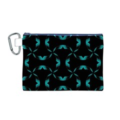 Background Black Blue Polkadot Canvas Cosmetic Bag (M)