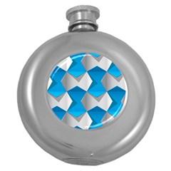 Blue White Grey Chevron Round Hip Flask (5 oz)