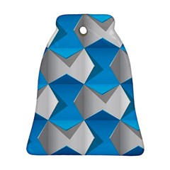 Blue White Grey Chevron Bell Ornament (Two Sides)