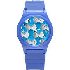 Blue White Grey Chevron Round Plastic Sport Watch (S)