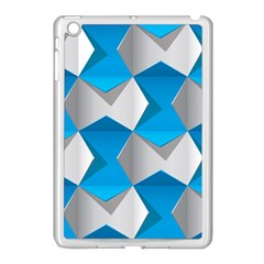 Blue White Grey Chevron Apple iPad Mini Case (White)