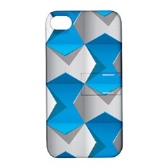 Blue White Grey Chevron Apple iPhone 4/4S Hardshell Case with Stand