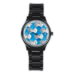 Blue White Grey Chevron Stainless Steel Round Watch