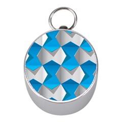 Blue White Grey Chevron Mini Silver Compasses