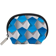 Blue White Grey Chevron Accessory Pouches (Small)