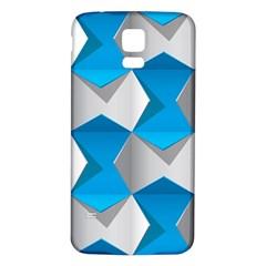 Blue White Grey Chevron Samsung Galaxy S5 Back Case (white)