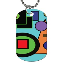 Basic Shape Circle Triangle Plaid Black Green Brown Blue Purple Dog Tag (One Side)