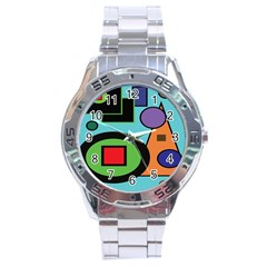 Basic Shape Circle Triangle Plaid Black Green Brown Blue Purple Stainless Steel Analogue Watch