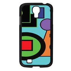Basic Shape Circle Triangle Plaid Black Green Brown Blue Purple Samsung Galaxy S4 I9500/ I9505 Case (Black)