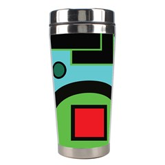 Basic Shape Circle Triangle Plaid Black Green Brown Blue Purple Stainless Steel Travel Tumblers