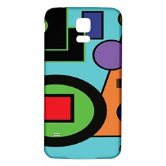 Basic Shape Circle Triangle Plaid Black Green Brown Blue Purple Samsung Galaxy S5 Back Case (White)