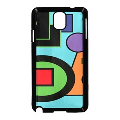 Basic Shape Circle Triangle Plaid Black Green Brown Blue Purple Samsung Galaxy Note 3 Neo Hardshell Case (Black)