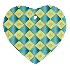 Yellow Blue Diamond Chevron Wave Ornament (Heart)