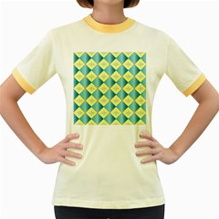 Yellow Blue Diamond Chevron Wave Women s Fitted Ringer T-Shirts