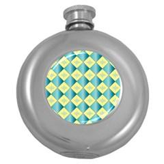 Yellow Blue Diamond Chevron Wave Round Hip Flask (5 oz)