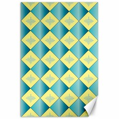 Yellow Blue Diamond Chevron Wave Canvas 20  x 30