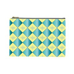 Yellow Blue Diamond Chevron Wave Cosmetic Bag (Large)
