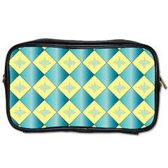 Yellow Blue Diamond Chevron Wave Toiletries Bags 2-Side