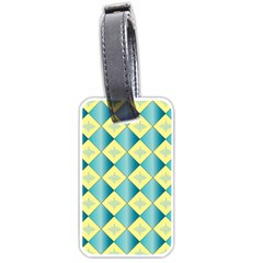 Yellow Blue Diamond Chevron Wave Luggage Tags (Two Sides)