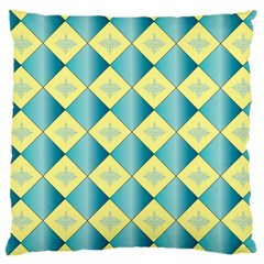 Yellow Blue Diamond Chevron Wave Large Cushion Case (Two Sides)
