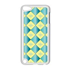 Yellow Blue Diamond Chevron Wave Apple iPod Touch 5 Case (White)