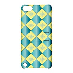 Yellow Blue Diamond Chevron Wave Apple iPod Touch 5 Hardshell Case with Stand