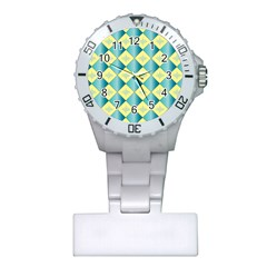 Yellow Blue Diamond Chevron Wave Plastic Nurses Watch