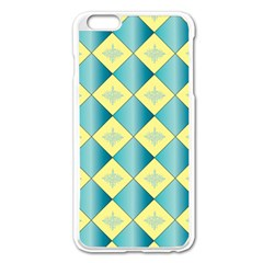 Yellow Blue Diamond Chevron Wave Apple iPhone 6 Plus/6S Plus Enamel White Case