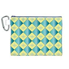 Yellow Blue Diamond Chevron Wave Canvas Cosmetic Bag (XL)