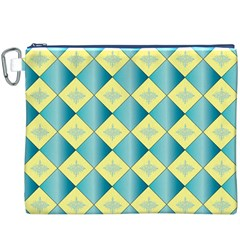 Yellow Blue Diamond Chevron Wave Canvas Cosmetic Bag (XXXL)