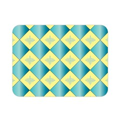 Yellow Blue Diamond Chevron Wave Double Sided Flano Blanket (Mini)