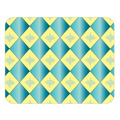 Yellow Blue Diamond Chevron Wave Double Sided Flano Blanket (Large)