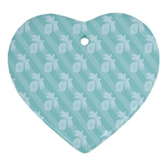 Christmas Day Ribbon Blue Ornament (Heart)