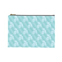 Christmas Day Ribbon Blue Cosmetic Bag (Large)