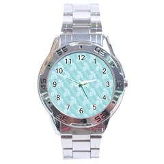 Christmas Day Ribbon Blue Stainless Steel Analogue Watch