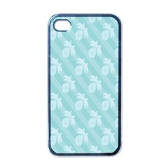 Christmas Day Ribbon Blue Apple iPhone 4 Case (Black)