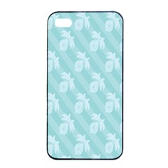 Christmas Day Ribbon Blue Apple iPhone 4/4s Seamless Case (Black)