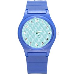 Christmas Day Ribbon Blue Round Plastic Sport Watch (S)