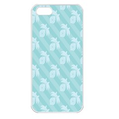 Christmas Day Ribbon Blue Apple iPhone 5 Seamless Case (White)