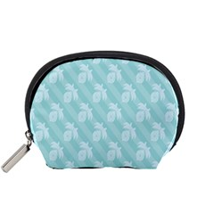 Christmas Day Ribbon Blue Accessory Pouches (Small)