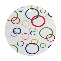 Circle Round Green Blue Red Pink Yellow Round Ornament (Two Sides)