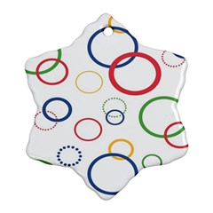 Circle Round Green Blue Red Pink Yellow Ornament (Snowflake)