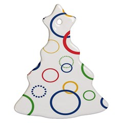 Circle Round Green Blue Red Pink Yellow Christmas Tree Ornament (Two Sides)