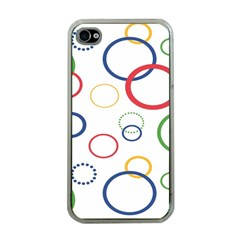Circle Round Green Blue Red Pink Yellow Apple iPhone 4 Case (Clear)