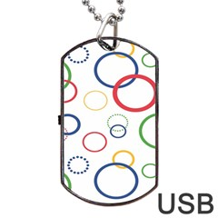 Circle Round Green Blue Red Pink Yellow Dog Tag USB Flash (Two Sides)