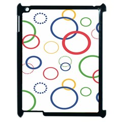 Circle Round Green Blue Red Pink Yellow Apple iPad 2 Case (Black)