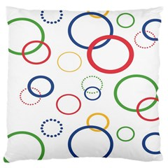 Circle Round Green Blue Red Pink Yellow Large Cushion Case (One Side)