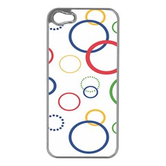 Circle Round Green Blue Red Pink Yellow Apple iPhone 5 Case (Silver)