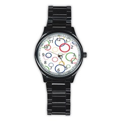 Circle Round Green Blue Red Pink Yellow Stainless Steel Round Watch